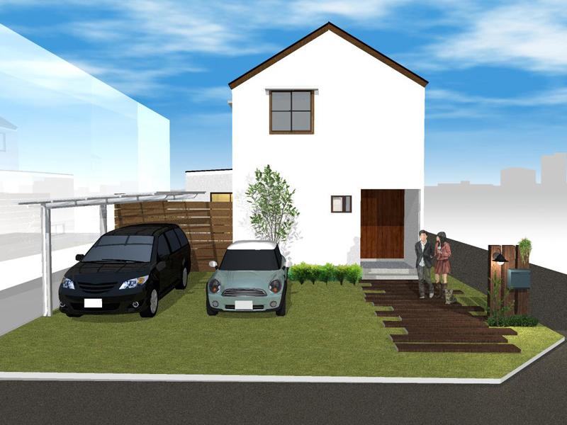 三角屋根がかわいいナチュラルな家①